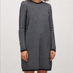 COS Navy White Sweater Dress Textured Knit